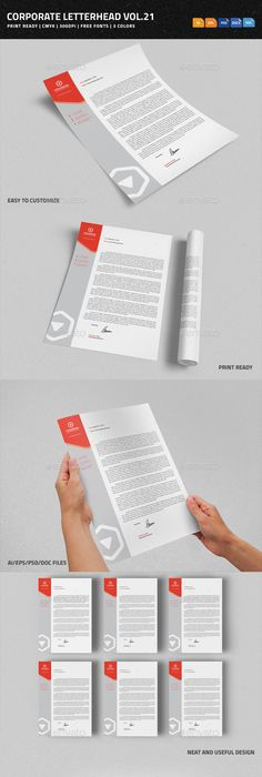 Corporate Letterhead 3 with MS Word Stationery templates, Business
