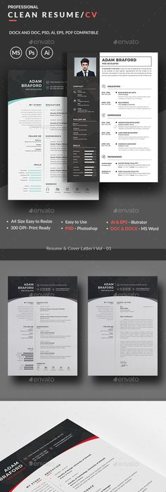 Clean  Bright Cv  Resume Template  Cv Resume Template Template