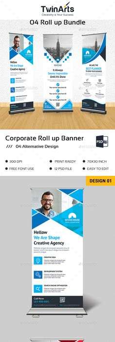 Roll Up Banner Template PSD Bundle   Roll-Up Banner Templates ...