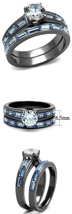 Her His 14K GP Stainless Steel 3pc Wedding Engagement Ring