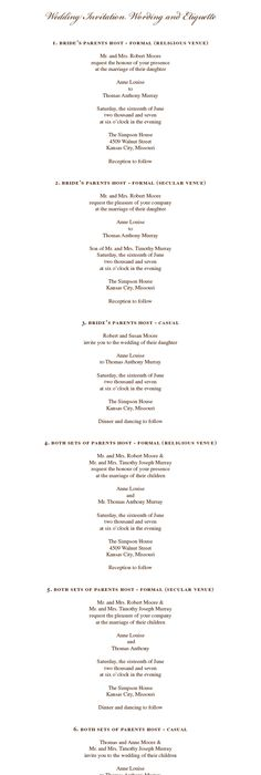 Southern Expertise Host Lines on Wedding Invitations Wedding - invitation non formal