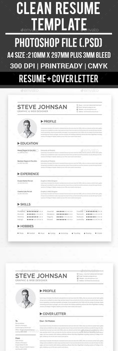 Clean Resume Template, Resume ideas and Cover letter template