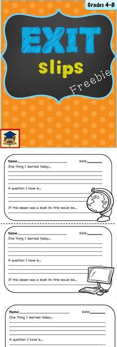Exit Ticket Template Printable  Teaching    School