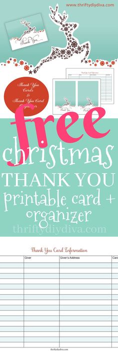 Free Christmas Thank You Notes  Free Christmas Printables Note