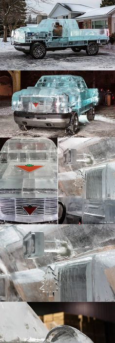 A Driveable Truck Made Of Ice To Promote A Canadian Car Parts Retailer  (details, More Pics And Commercial Videos At The Link)