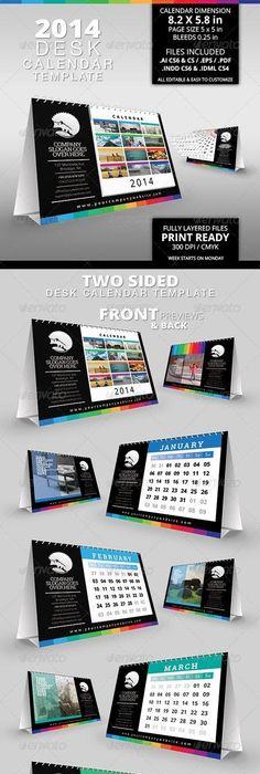Flatmage Desk Calendar 2014 Template Calendar 2014 Desk Calendars