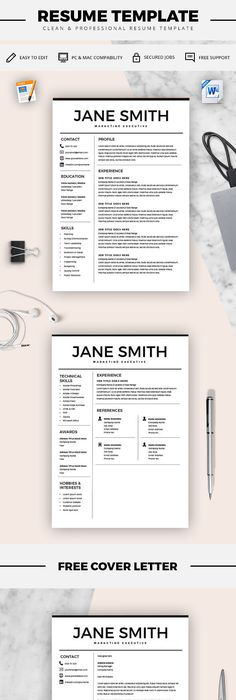 Feminine Resume - CV design - Resume Download - MS Word Resume for - word resume template mac