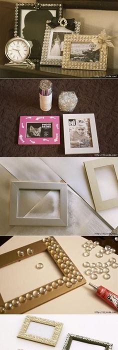 Easy diy picture frames learning board and easy diy glamorous picture frame with glass gems from the dollar tree store christmas or mothers solutioingenieria Image collections
