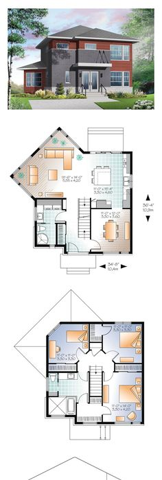 Contemporary Modern House Plan 76369
