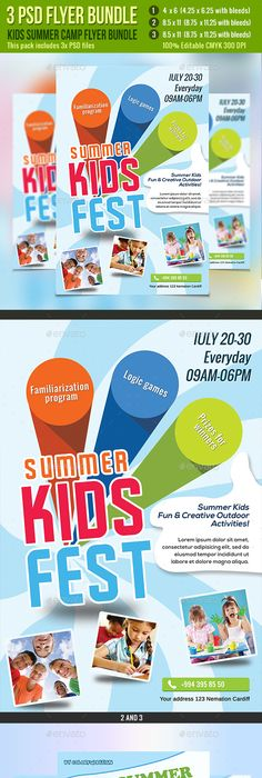 Kids Summer Camp Flyer Templates By Business Templates On Creative