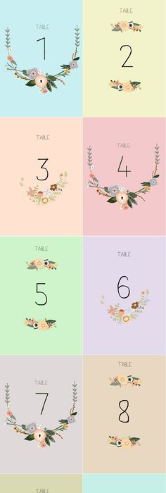 BHLDN Peeking Florals Table Numbers (5) Table numbers, Wedding - Download Numbers Spreadsheet For Mac