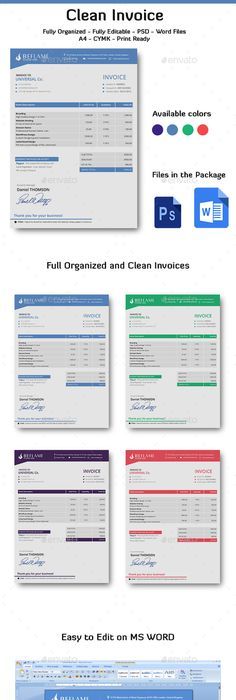 Clean Invoice Template Indesign Indd Designer Clean Available