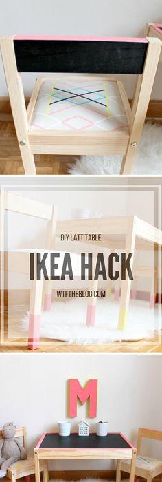 Ikea Latt Table Hack - Chalkboard Paint and Drawing Paper DIY - best of world map glass desk ikea