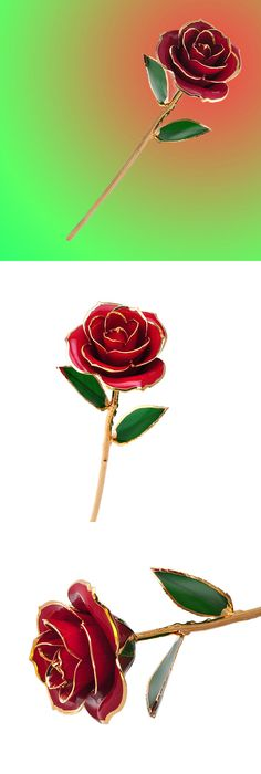 Red Foil Rose with Purple Gift Box and Stand 24K Gold Plated Foil