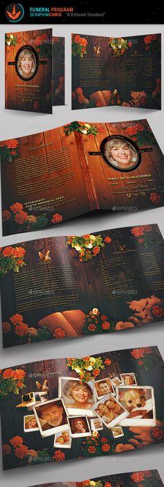 Funeral Program Brochure Template Brochure template, Brochures and