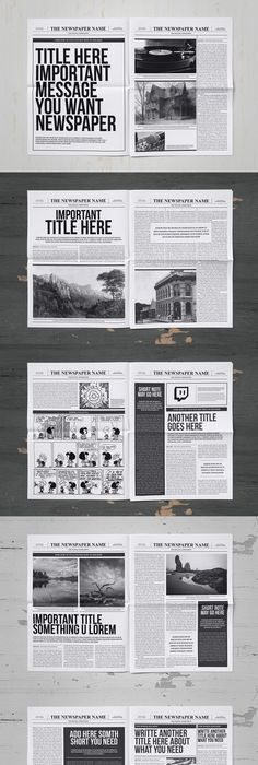 Tabloid Paper Design  Generic Newspaper Layout Download Royalty