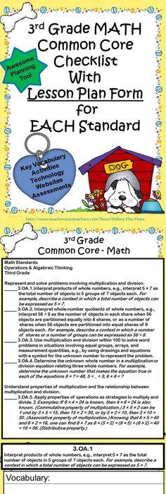 Interactive Math Journal I Can Labels 3rd Grade Math Ccss Math