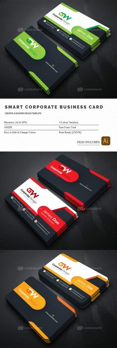Corporate Business Card Template   Business Cards