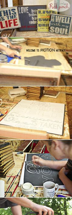 Signs That Look Old Tutorial. I Love Her Lettering Trick! - Click