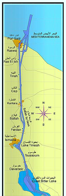 This map gives the location of former British bases in the Suez