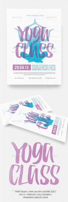 Yoga Class Event Flyer Poster Template  Fitness Events