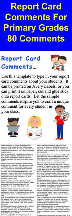 Image Result For Sample Report Card Comments For St Grade  Report