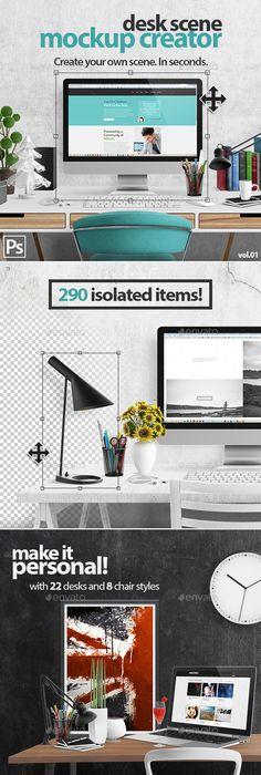 Creative Desk Scene Creator | Graphics, Mockup and Site design