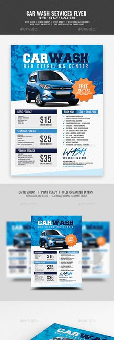 Car Wash Services Advertising Bundle Template  Car Wash Template