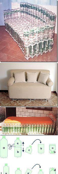 recicla tus botellas de plástico y haz un lindo cojin EcoIdeas - muebles diy