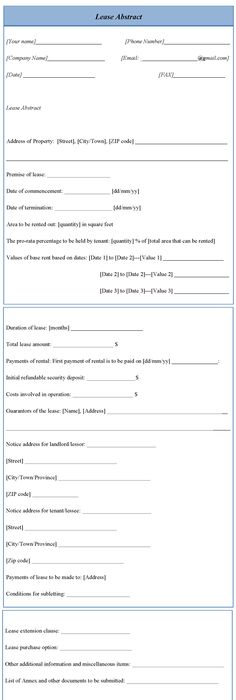 lease abstract template