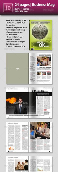24 Page InDesign Magazine A4 | Print templates, Magazines and Template