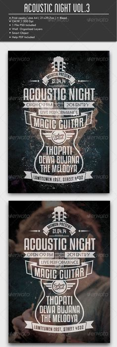 Blues Rock Flyer / Poster \u2014 Photoshop PSD #gig #band \u2022 Available - band flyer template