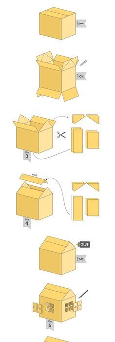 Technique pour faire des bâtiments en carton, avec plein de gros - maquette de maison a construire