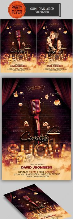 80s event posters Stand up Comedy Pinterest - comedy show flyer template