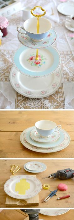 projects idea unique tea cups. DIY  Cake stand with plates and teacup con platos y taza Oh now I MUST do this LOVE violets have been collecting