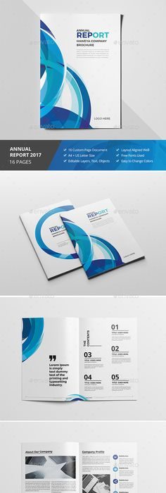 Blue Company Brochure Template InDesign INDD - 36 Pages A4 & US ...