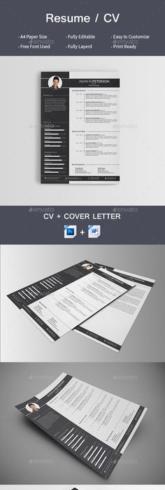 Resume \u2014 PSD Template #blue resume #clean cv \u2022 Download ➝   - m w resume
