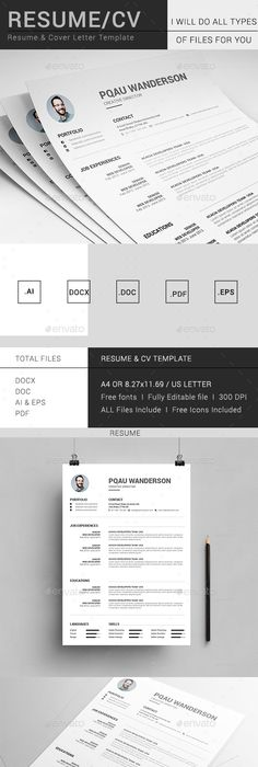 Resume Ai illustrator, Template and Resume cv