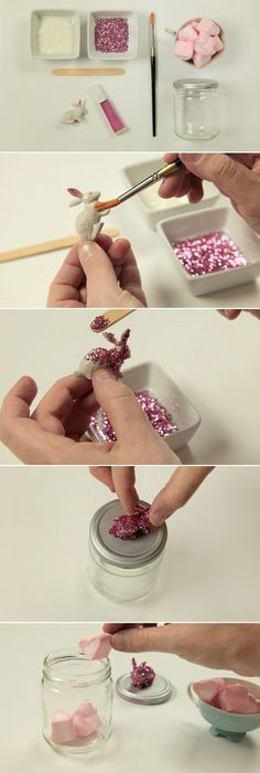 Make these adorable spring gift boxes as easter gifts or a guest diy easter gift ideas kids adults bunny glass jar glue top marshmallows negle Choice Image