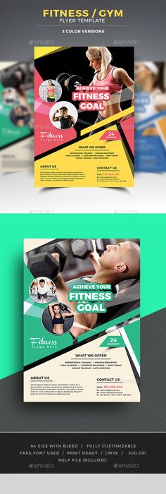 Fitness Flyer Flyer template, Template and Gym - fitness brochure template