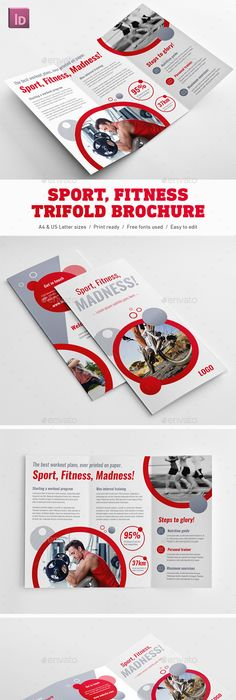 Gym Fitness TriFold Brochure  Tri Fold Brochure Gym Fitness And