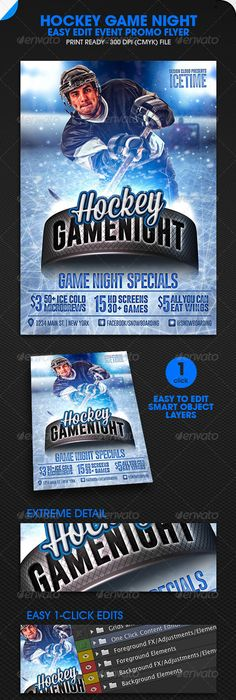 Hockey Game Night Flyer Template Hockey Games Game Night And