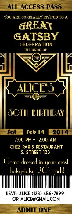 Great Gatsby Style Birthday Invitation - Great idea for an 80th - birthday invitation wording for movie party