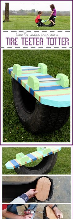 Tire see saw made from an old tire pine wood board play 10 super unique and easy to do backyard ideas solutioingenieria Images