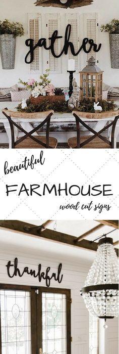 Thankful word wood cut wall art sign decor