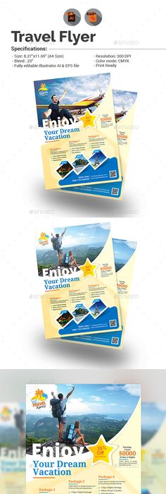 Travel & Tourism Flyer 01 | Ai illustrator, Flyer template and Tourism