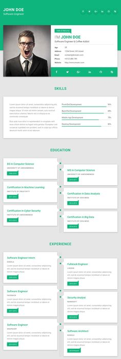 Mu Material  Free Personal Website Template For Resume Cv Vcard