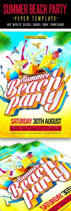 Summer Beach Party Flyer Template Summer beach party, Party flyer