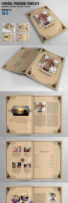 Funeral Program Template / 8 Page Square Booklet | Program template ...
