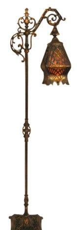 Antique-Art-Nouveau-Deco-Ornate-Bridge-Floor-Lamp-Cast-Iron-Onyx ...